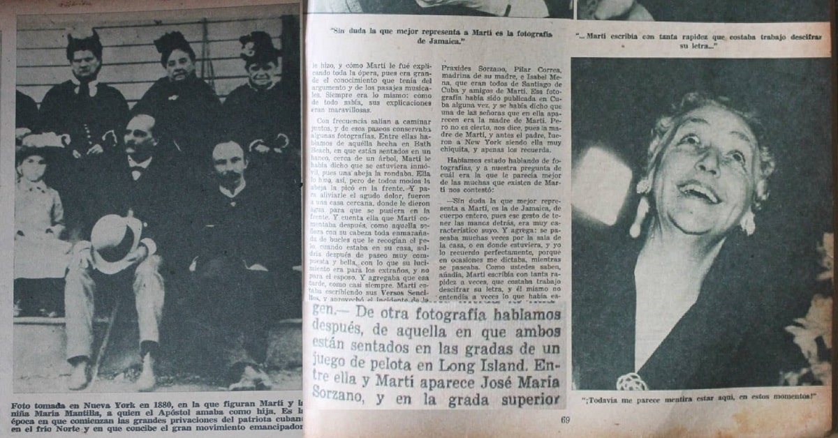 En 1953 Maria Mantilla, de quien siempre se ha especulado con ciertas evidencias de peso que era hija de Martí, trajo a la ínsula varias fotografías junto a él, entre las que se incluía una en las gradas de un terreno de pelota